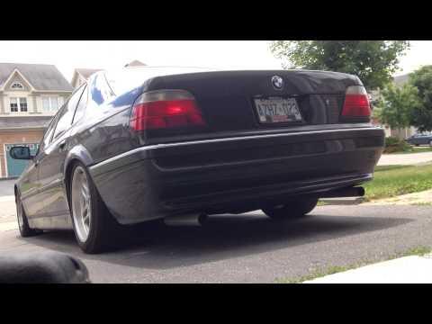 BMW E38 740iL Straight Pipe Muffler Delete Exhaust Sound (exterior)