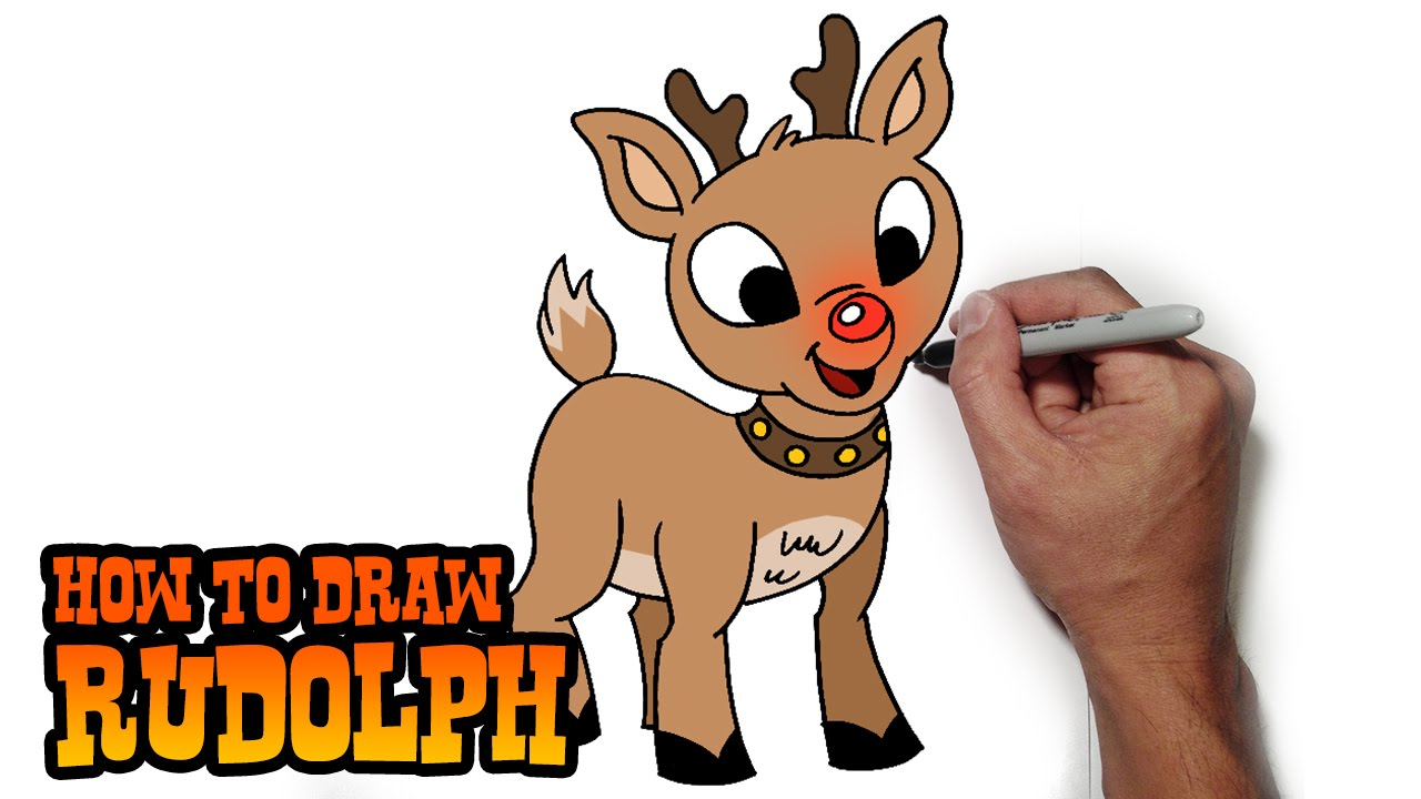 Uncategorized Draw Reindeer how to draw rudolph the red nosed reindeer easy art lesson youtube
