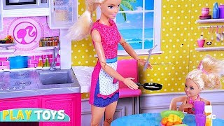 Barbie Doll and Chelsea Morning Routine! 🎀Play with Barbie Kitchen Toys and Chelsea Doll House!