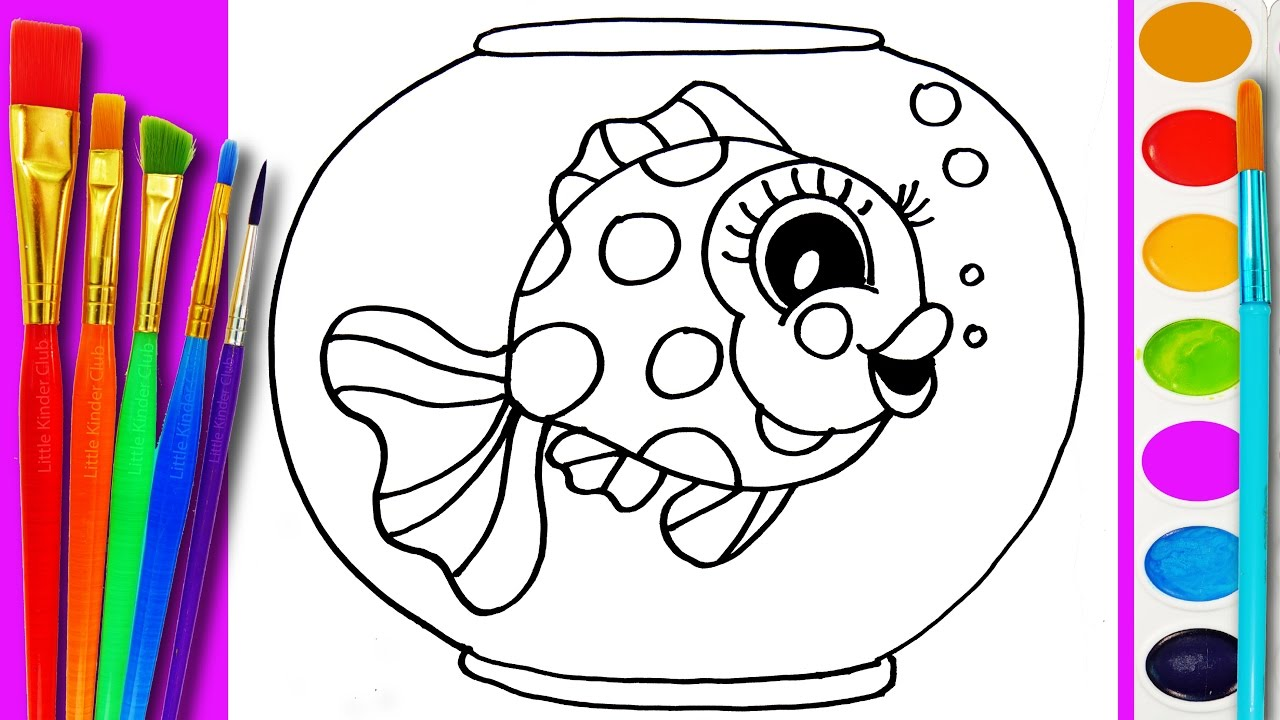 how to draw gold fish coloring page cute fishes for kids to learn