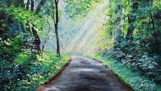 Green Forest Path Landscape Acrylic Painting LIVE Tutorial