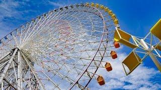 4K 天保山の観覧車と風車・湾岸風景 Tenpouzan Ferris Wheel