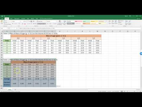 Data processing in Excel for IB Biology