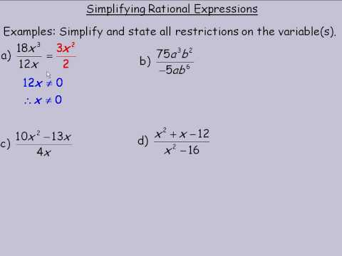 Simplifying Rational Expressions (with videos, worksheets, games ...