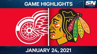 NHL Game Highlights | Red Wings vs. Blackhawks - Jan. 24, 2021
