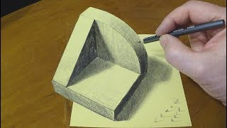 HOW TO DRAW TRUNCATED CUBE #3 - Drawing 3D Carved Cube - By Vamos