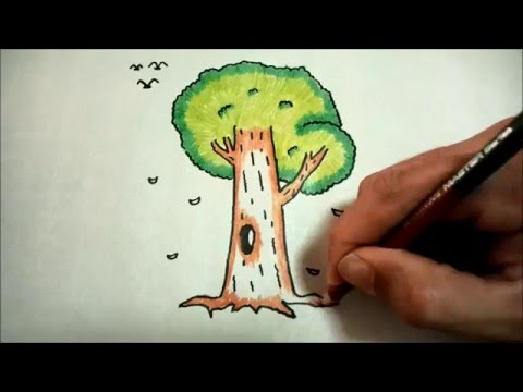 วาดรูปต้นไม้ใหญ่ สอนวาดรูปการ์ตูนน่ารักง่ายๆ สอนวาดรูปการ์ตูนระบายสี How To Draw Tree Cartoon