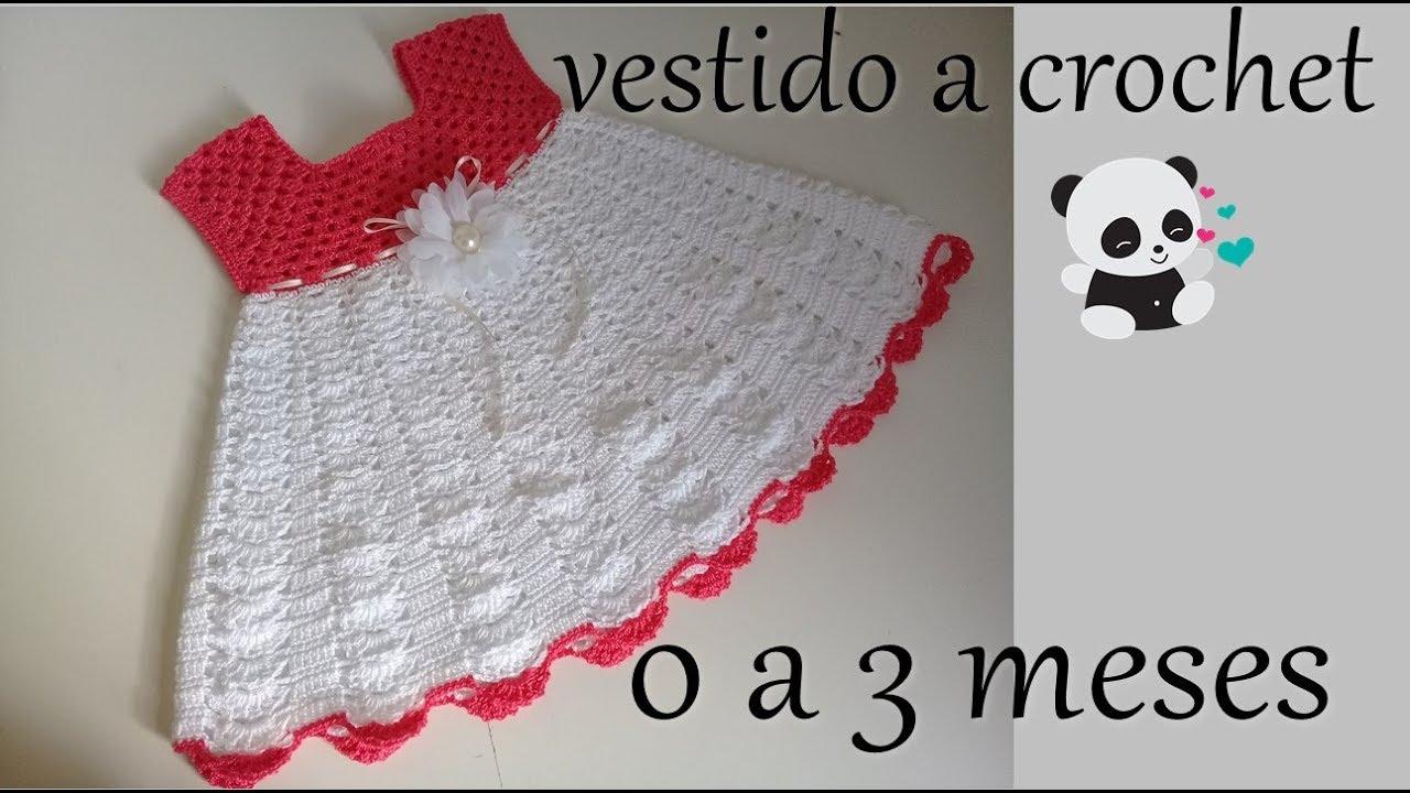 Vestido A Crochet Para Bebe 0 A 3 Meses