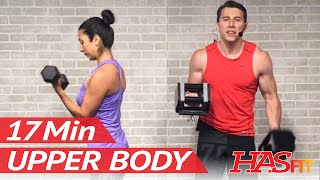 17 Min Upper Body Workout for Women & Men at Home with Dumbbells - Chest and Back Workout w/ Weights