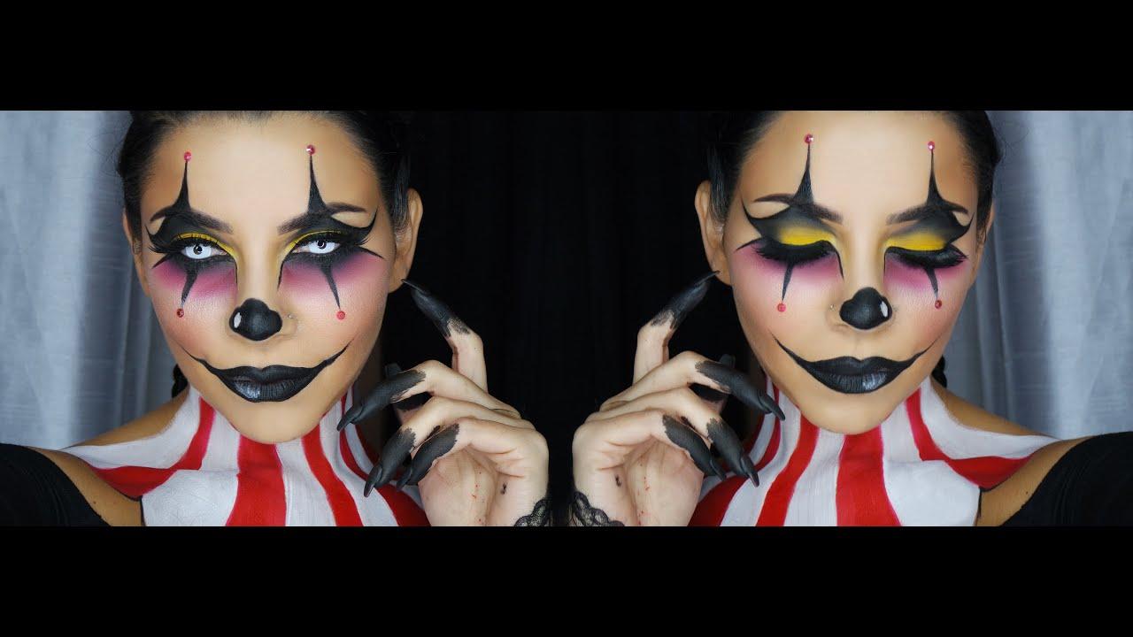 Clown Face Makeup Tutorial by Tina Kosnik | TinaKpromua - YouTube