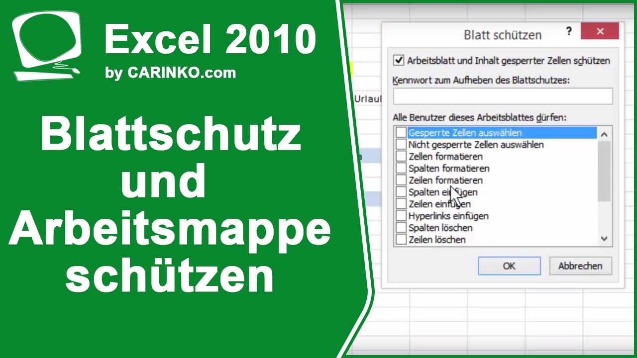 Excel 2010 Blattschutz und Arbeitsmappe schützen - carinko.com - YouTube