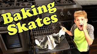 Kids HocKey - BAKING Brand New Skates at home in the OVEN