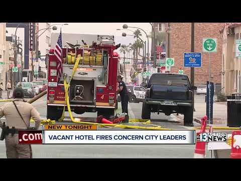 Vacant downtown Las Vegas hotel catches fire, city leaders see red