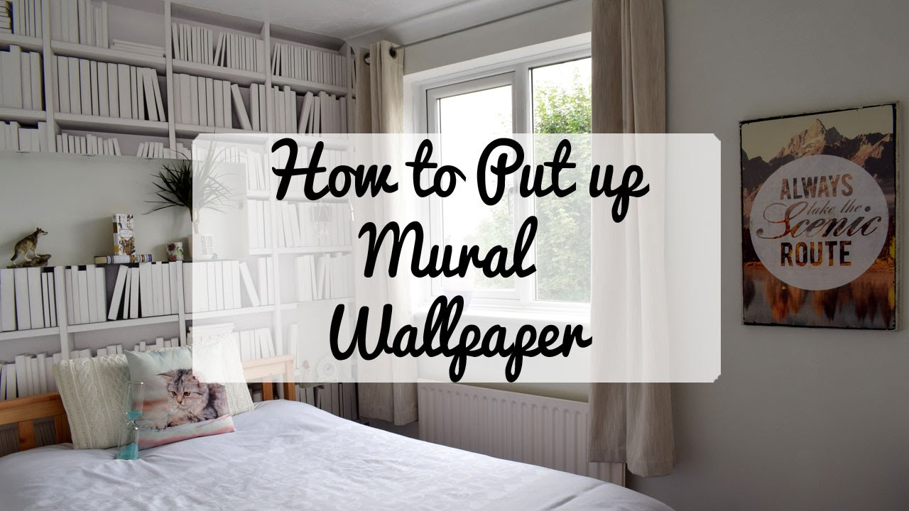 How To Put Up A Bookshelf Mural Wallpaper