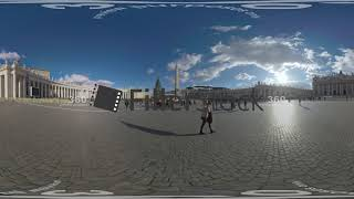 360 VR St. Peters Square with Basilica and tourists visiting landmark, Vatican