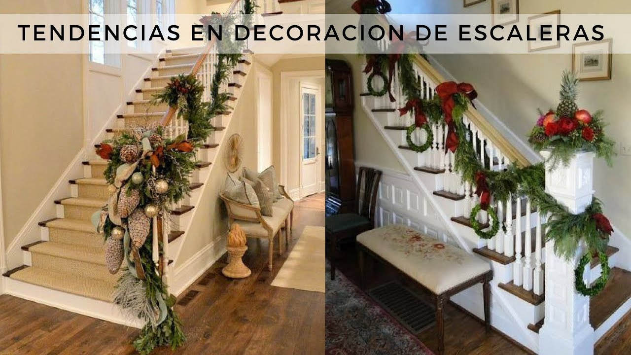 Ideas para decorar las escaleras de tu hogar en esta navidad youtube - Decorar una escalera ...