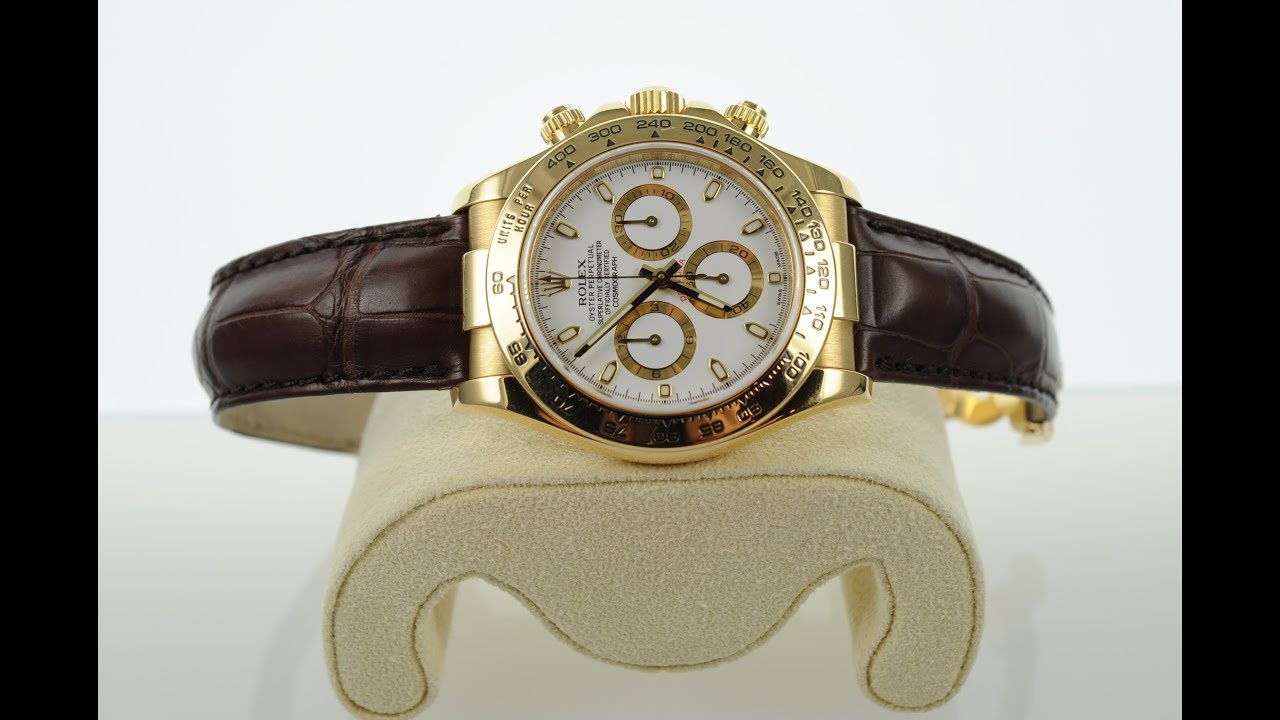 Ewc Review Beautiful 18ct Gold Rolex Daytona 116518 On Leather