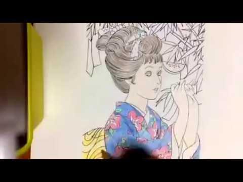 塗り絵七夕 和服の女の子 Youtube