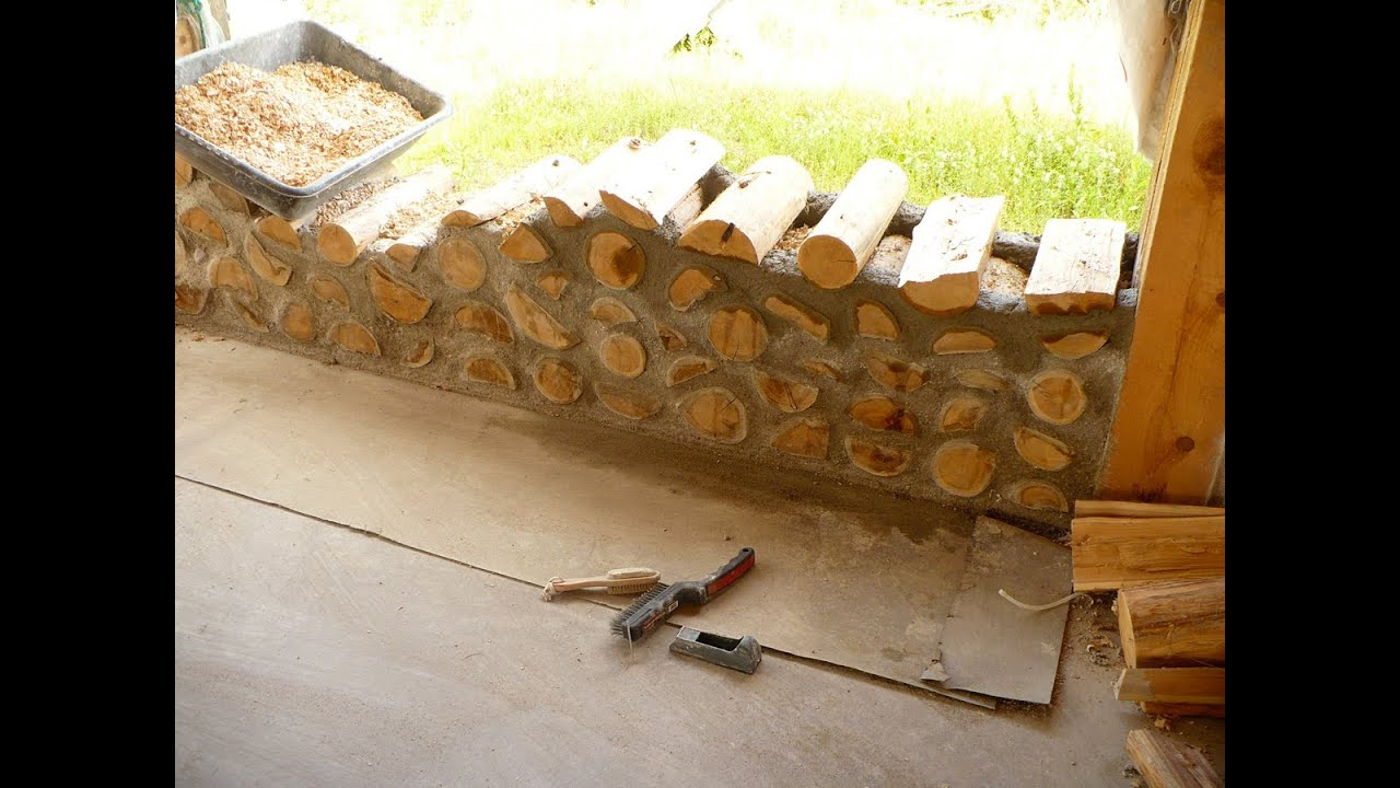 Diy cordwood construction semi tutorial youtube for How to build a floor for a house