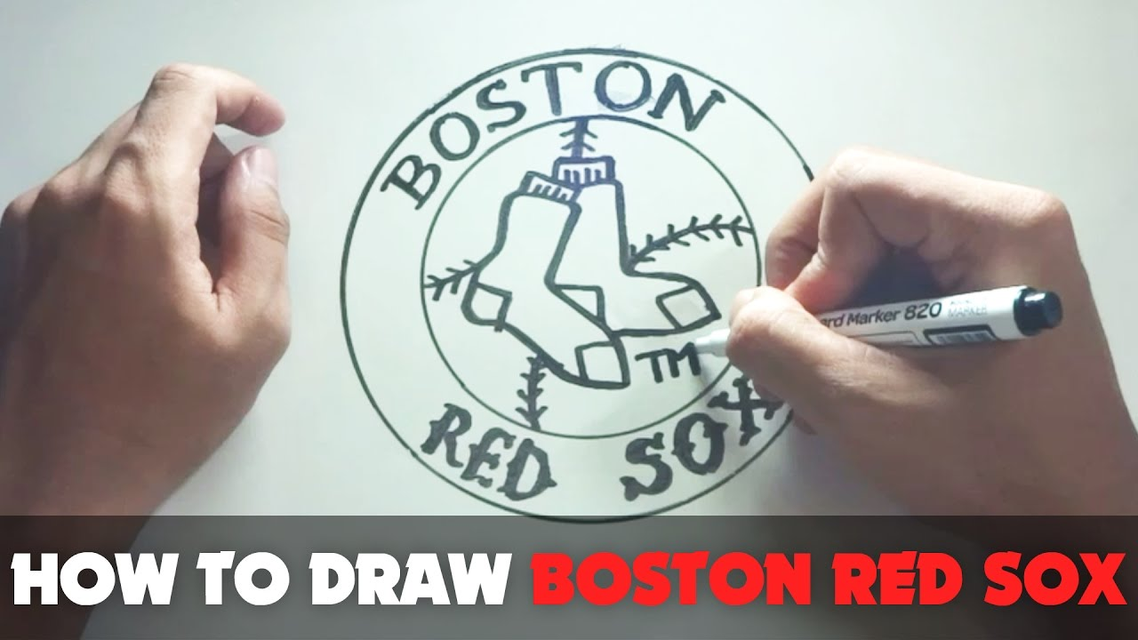 How To Draw A Cartoon Boston Red Sox Logo Tutorial Step By Step