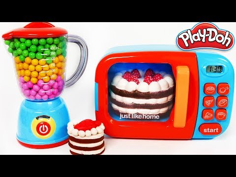 Thumbnail: Squishy Strawberry Cake Learn Colors with Play Doh and Microwave KItchen Toy Appliance Playset for K
