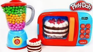 Squishy Strawberry Cake Learn Colors with Play Doh and Microwave KItchen Toy Appliance Playset for K