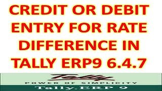 Credit or Debit Note Entry For Rate Difference In Tally Erp9 6.4.7 (Gst Version)
