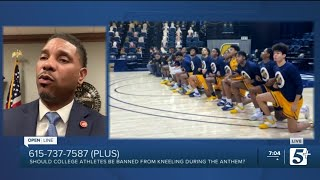 Should college athletes be stopped from kneeling during the national anthem? p1