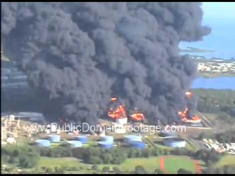 Caribbean Petroleum Corporation Oil Storage Explosion - Bayamon, Puerto Rico 2009 archival footage
