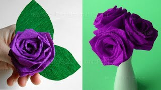 Origami Rose falten: Blumen basteln - Rosen aus Krepp-Papier falten - DIY Bastelideen Geschenke