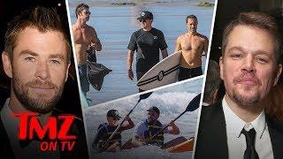 Chris Hemsworth and Matt Damon Double Date at the Beach | TMZ TV