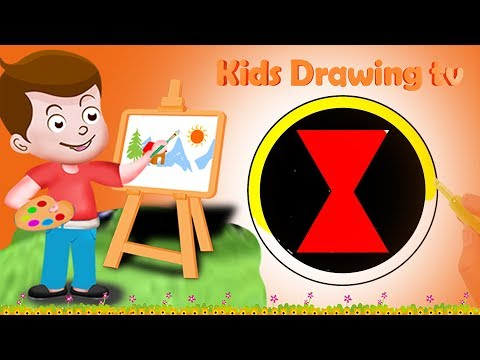 Drawing Black Widow Logo Paint And Colouring For Kids | Kids Drawing TV | Marvel Comics | Superhero