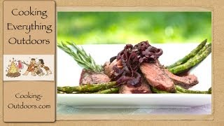 Grilled Rib Eye Steak With Mushroom Wine Reduction Sauce