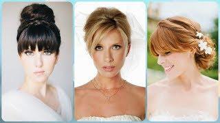 Top 20 💟 najmodniejsze fryzury na wesele z grzywką