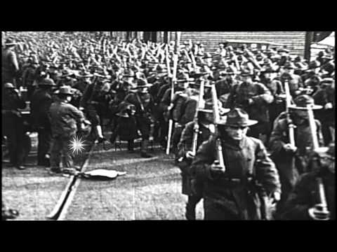 American Expeditionary Forces arriving in France, during World War I HD Stock Footage