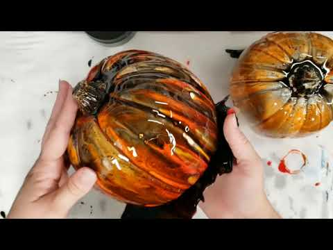Resin Painting Pumpkins - Halloween DIY for Unique Decor