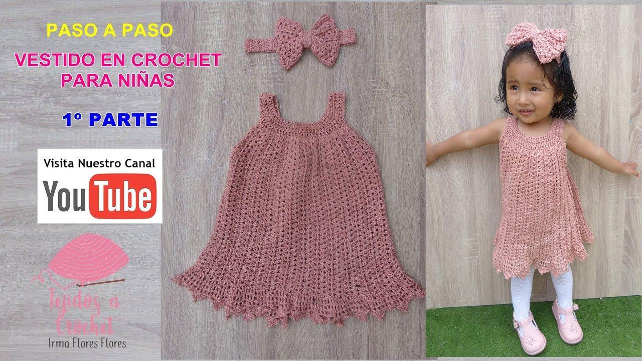 Espectacular Vestido Tejido En Crochet Paara Niñas 1º Parte Vestdo Verano
