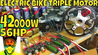 42,000w 56hp Electric Bike Triple Motor (video#3) YES, the monster is rolling! First tests at 300A