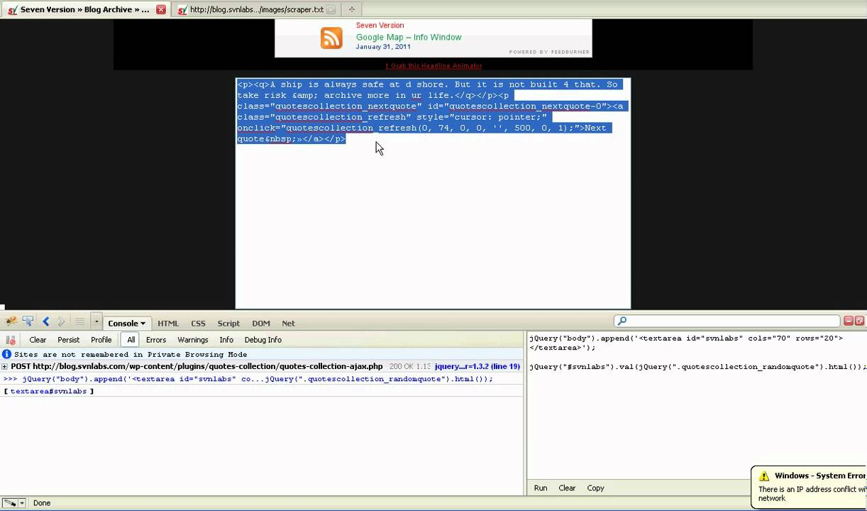 Web Scraping Using Firefox & jQuery