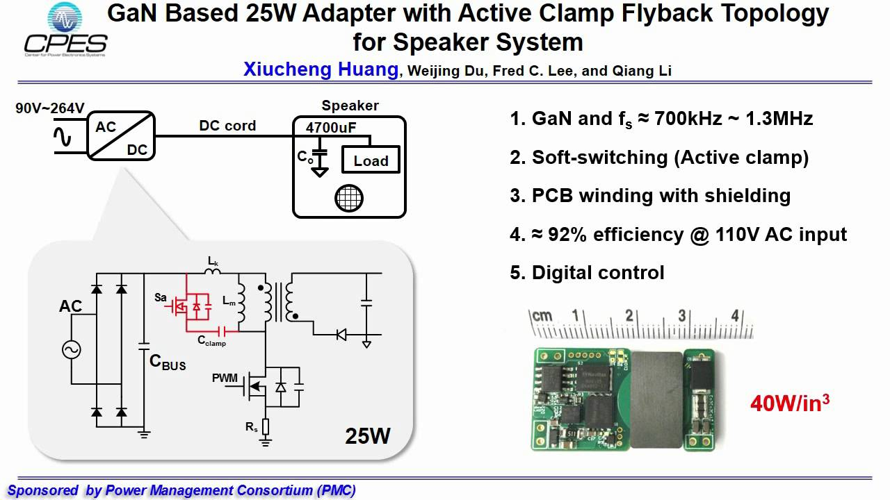 GaN Based 25W Adapter with Active Clamp Flyback Topology for Speaker System - YouTube