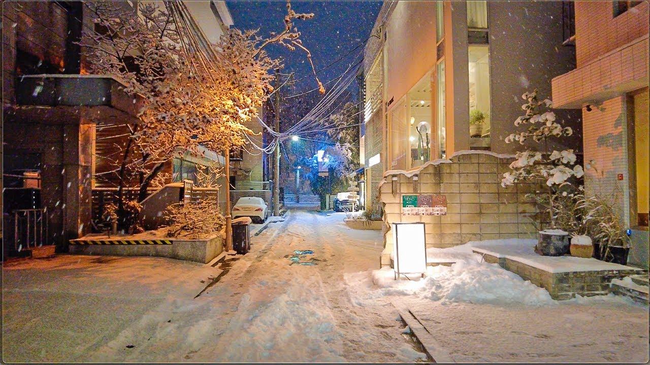 [4K] Snowy Apgujeong Streets 7km Night Exploring Seoul 서울 눈오는 압구정 골목길과 도산공원 밤산책
