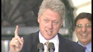 This is video footage of president william jefferson clinton at a 1996 victory celebration. official public record produced by the white hou...