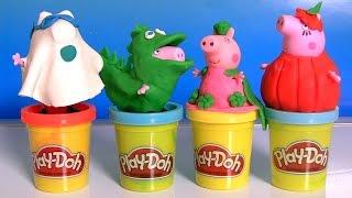 Play Doh Peppa Pig Halloween Costume Dinosaur George, Ghost Daddy, Pumpkin Mummy by DisneyCollector