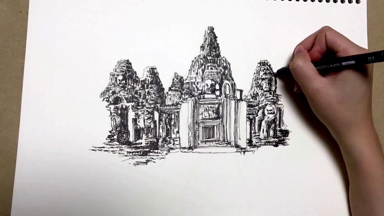 aliexpress der Verkauf von Schuhen Rabatt-Verkauf Drawing Angkor Wat in Faber-Castell Ecco Pigment Ink - YouTube