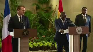 Ghana President Nana Akufo lectures French President Macron