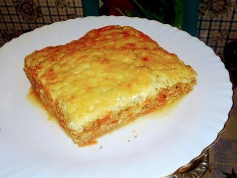 Капустная запеканка с мясным фаршем .овощами и сыром.