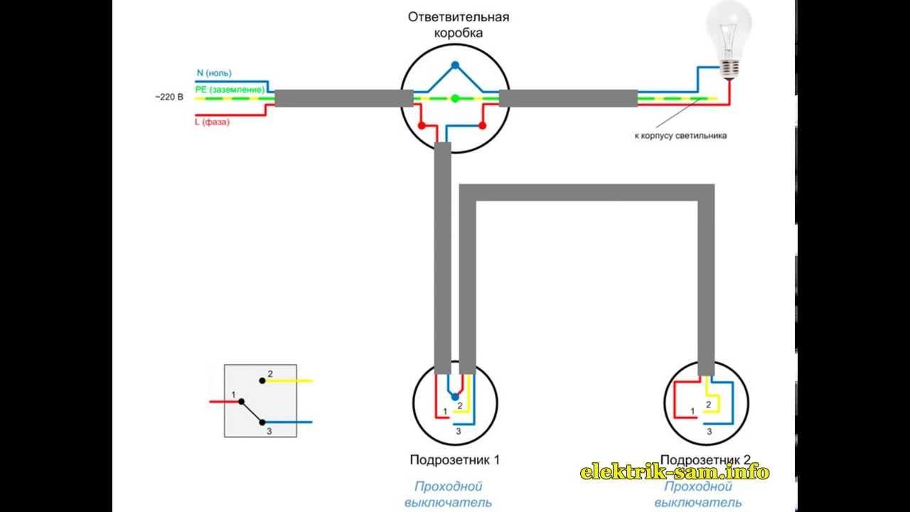 Электрическая схема проходного выключателя фото 852