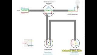 Схема подключения проходных выключателей из двух мест(Схема подключения проходных выключателей из двух мест. Подробный принцип работы. Как соединять: что куда..., 2013-01-31T12:47:59.000Z)