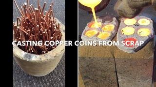 CASTING COPPER COINS IN CLAY FROM SCRAP COPPER WIRE 1080p full pour
