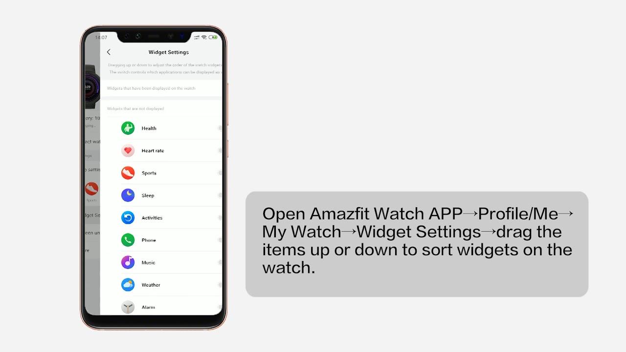 Customizing Widgets on Amazfit Verge